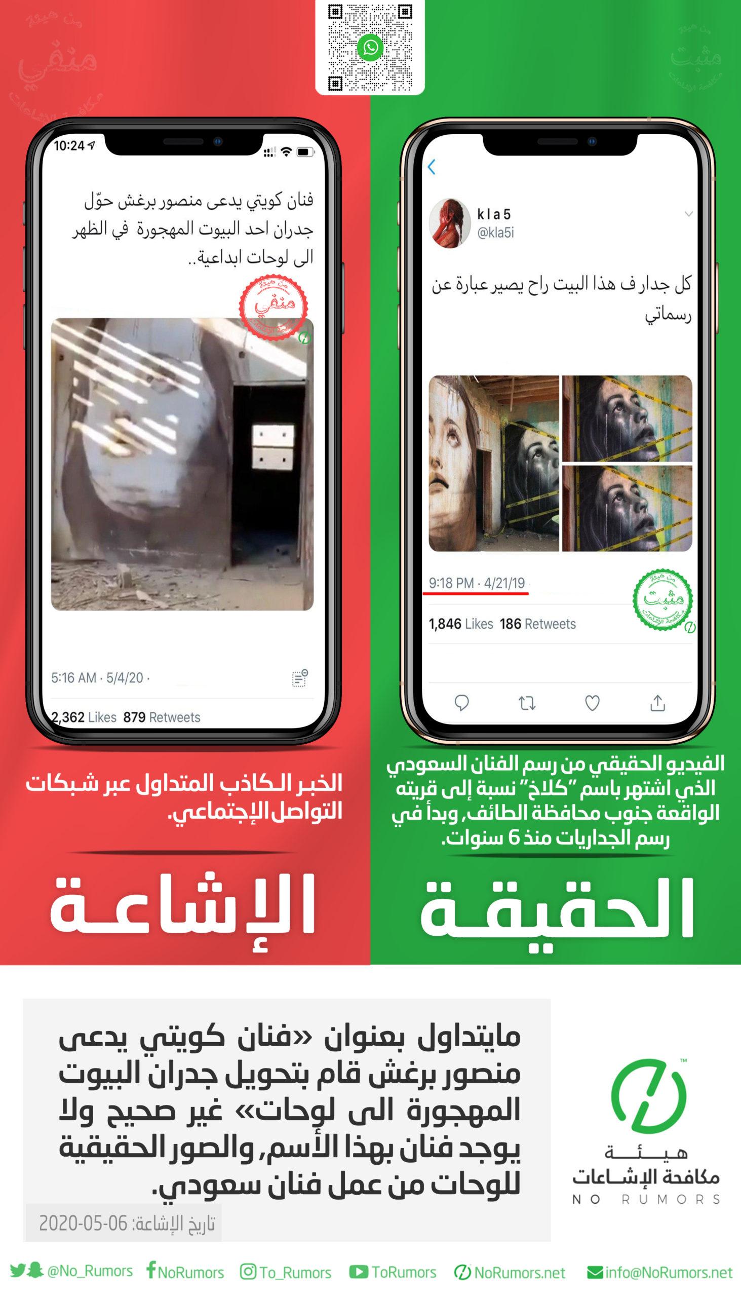 حقيقة مايتداول بعنوان «فنان كويتي يدعى منصور برغش قام بتحويل جدران البيوت المهجورة الى لوحات»