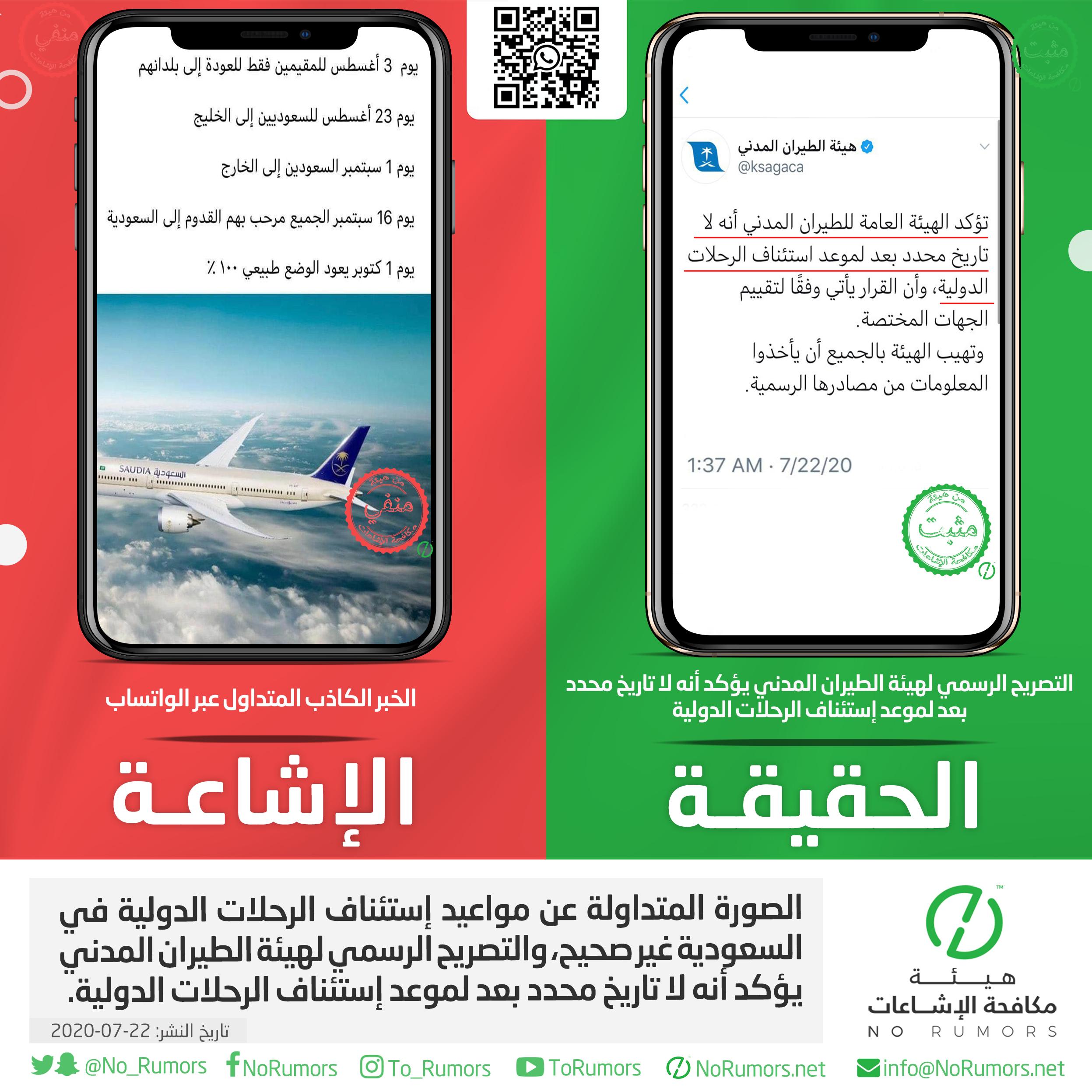 ماهي حقيقة الصورة المتداولة عن مواعيد إستئناف الرحلات الدولية في السعودية