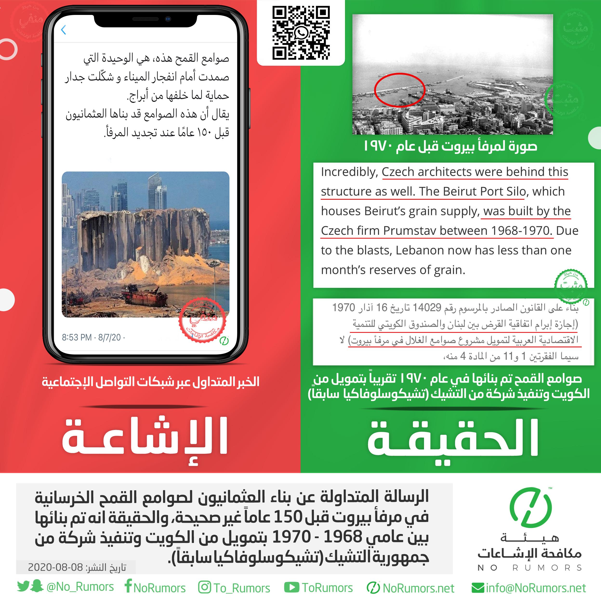 حقيقة الرسالة المتداولة عن بناء العثمانيون لصوامع القمح الخرسانية في مرفأ بيروت قبل 150 عاماً