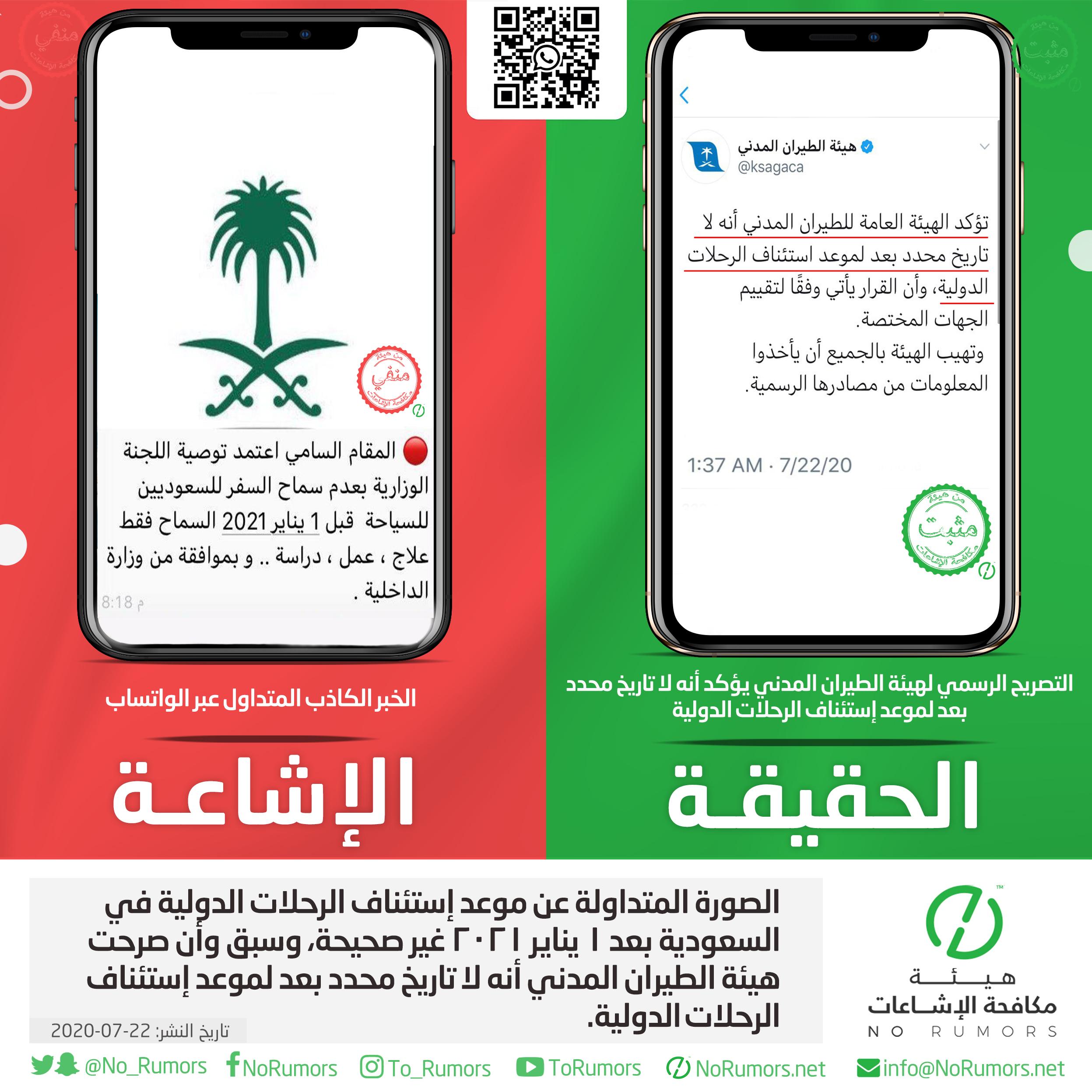 حقيقة الصورة المتداولة عن موعد إستئناف الرحلات الدولية في السعودية بعد ١ يناير ٢٠٢١