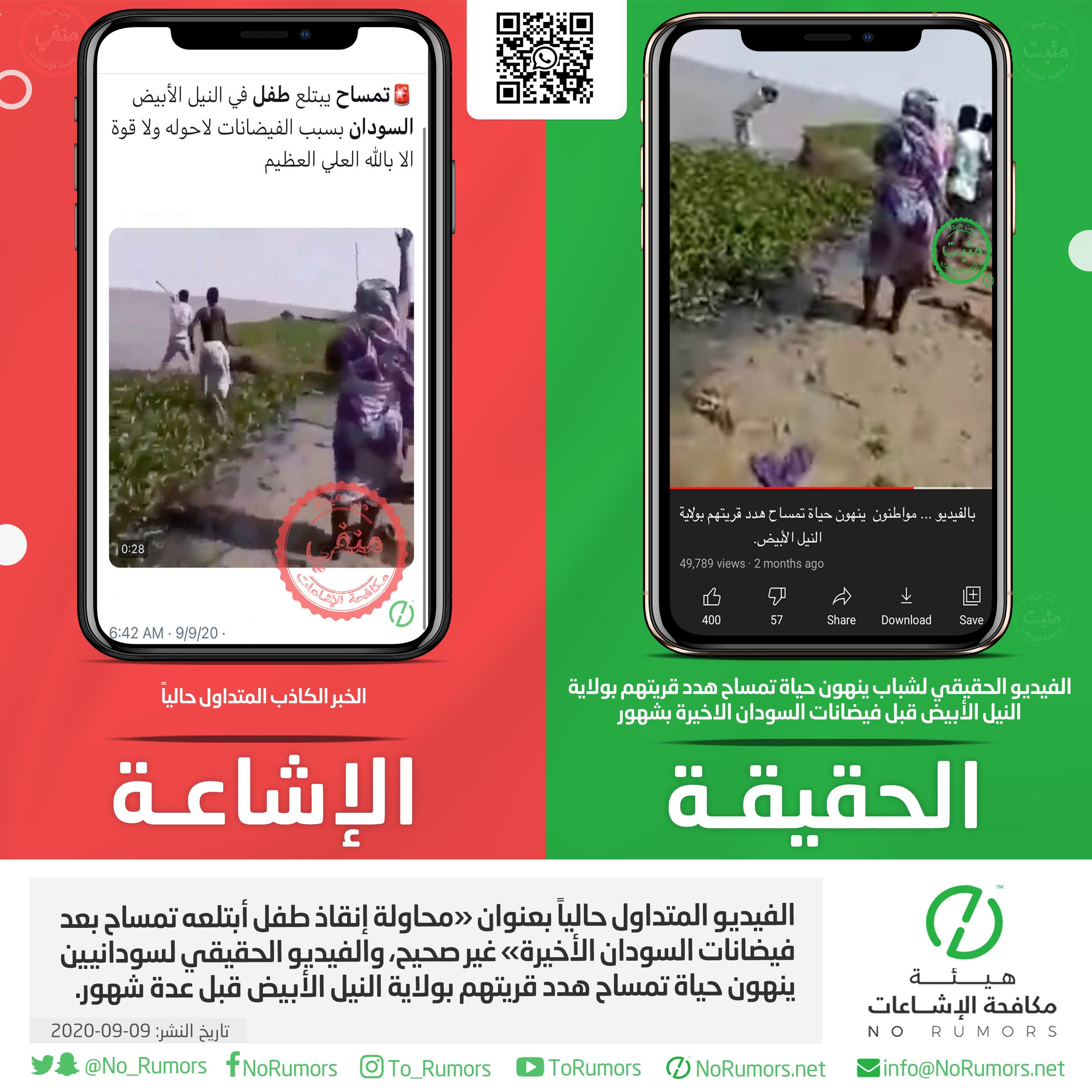 حقيقة الفيديو المتداول حالياً بعنوان «محاولة إنقاذ طفل أبتلعه تمساح بعد فيضانات السودان الأخيرة»
