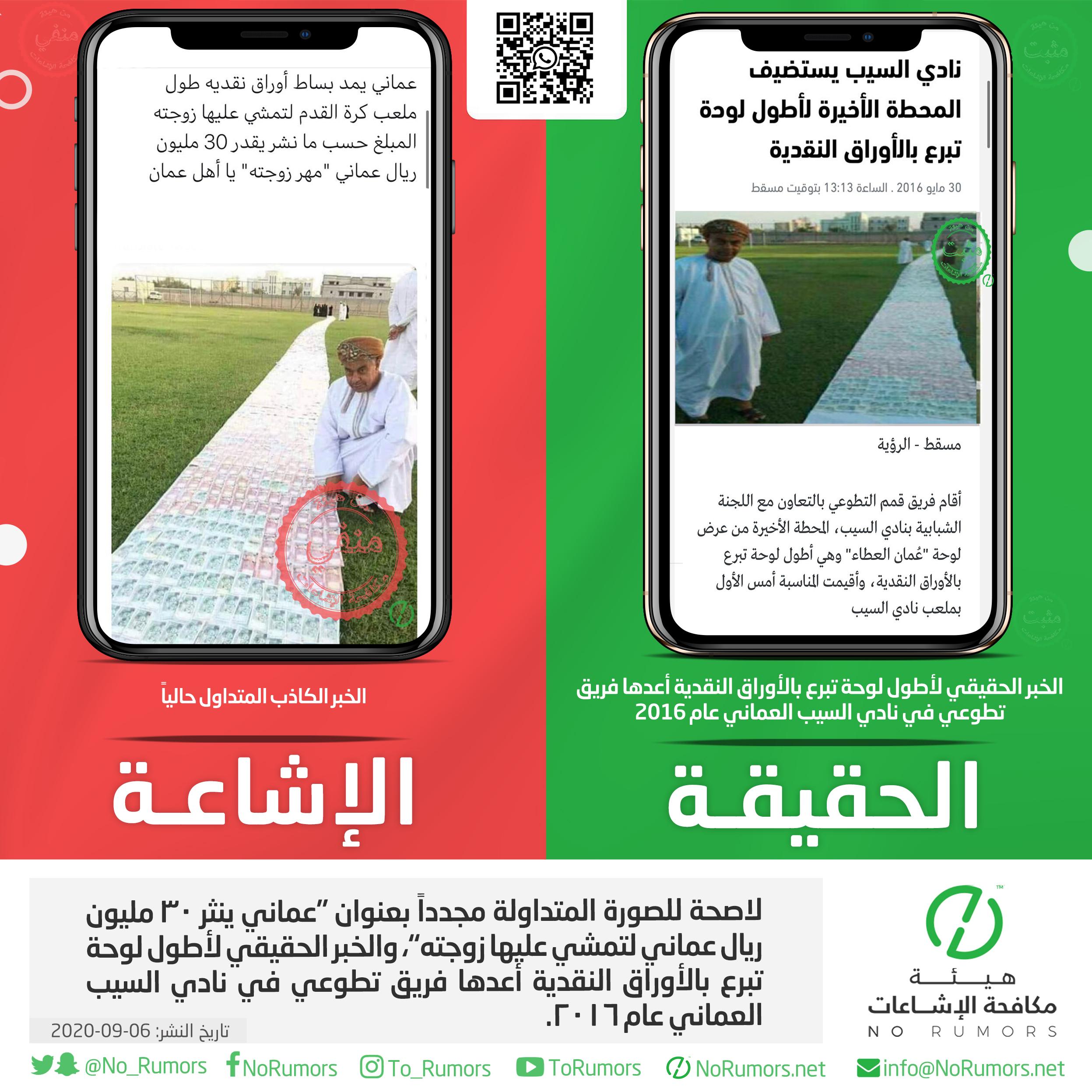 """حقيقة الصورة المتداولة مجدداً بعنوان """"عماني ينثر ٣٠ مليون ريال عماني لتمشي عليها زوجته"""""""