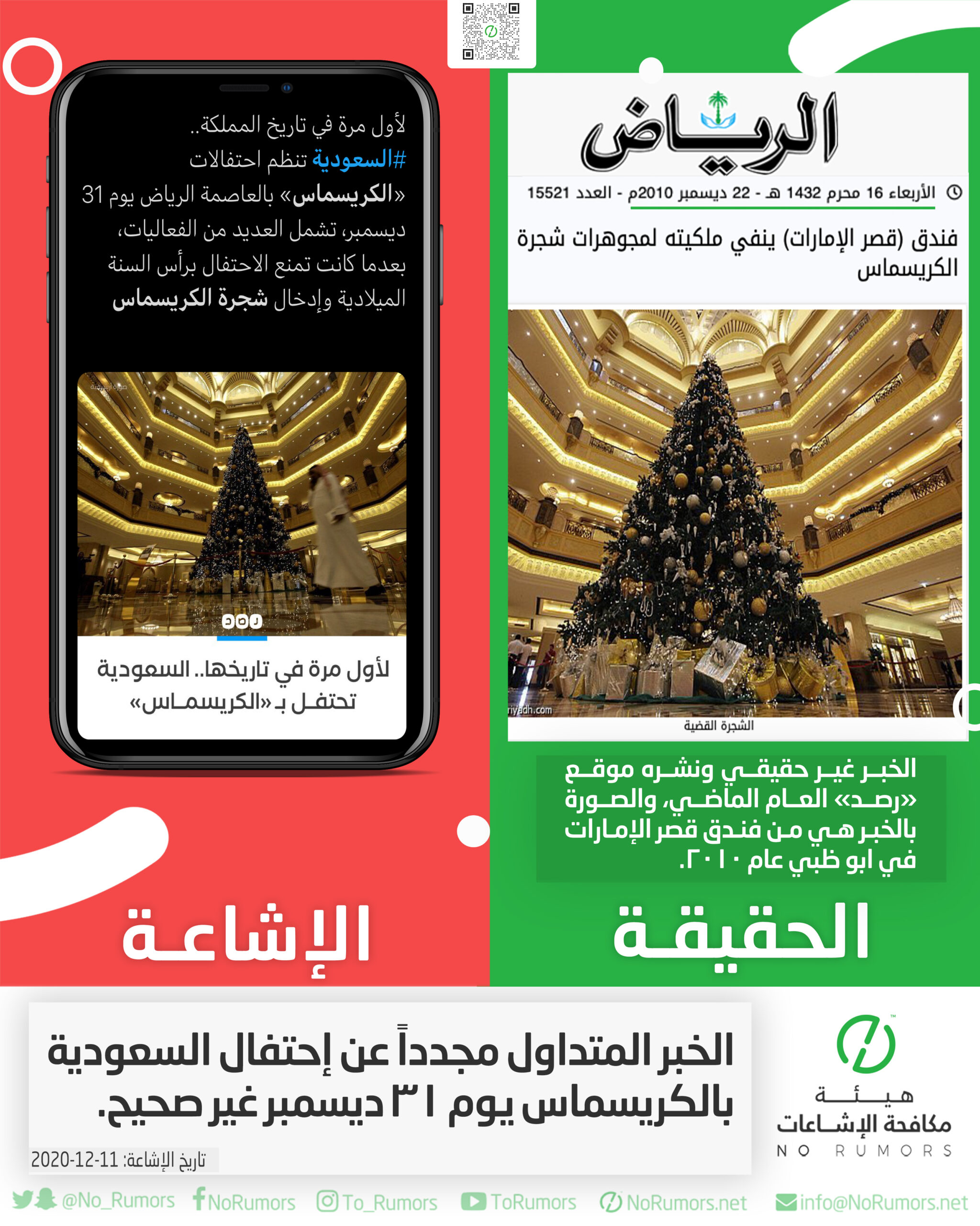 حقيقة الخبر المتداول مجدداً عن إحتفال السعودية بالكريسماس يوم ٣١ ديسمبر