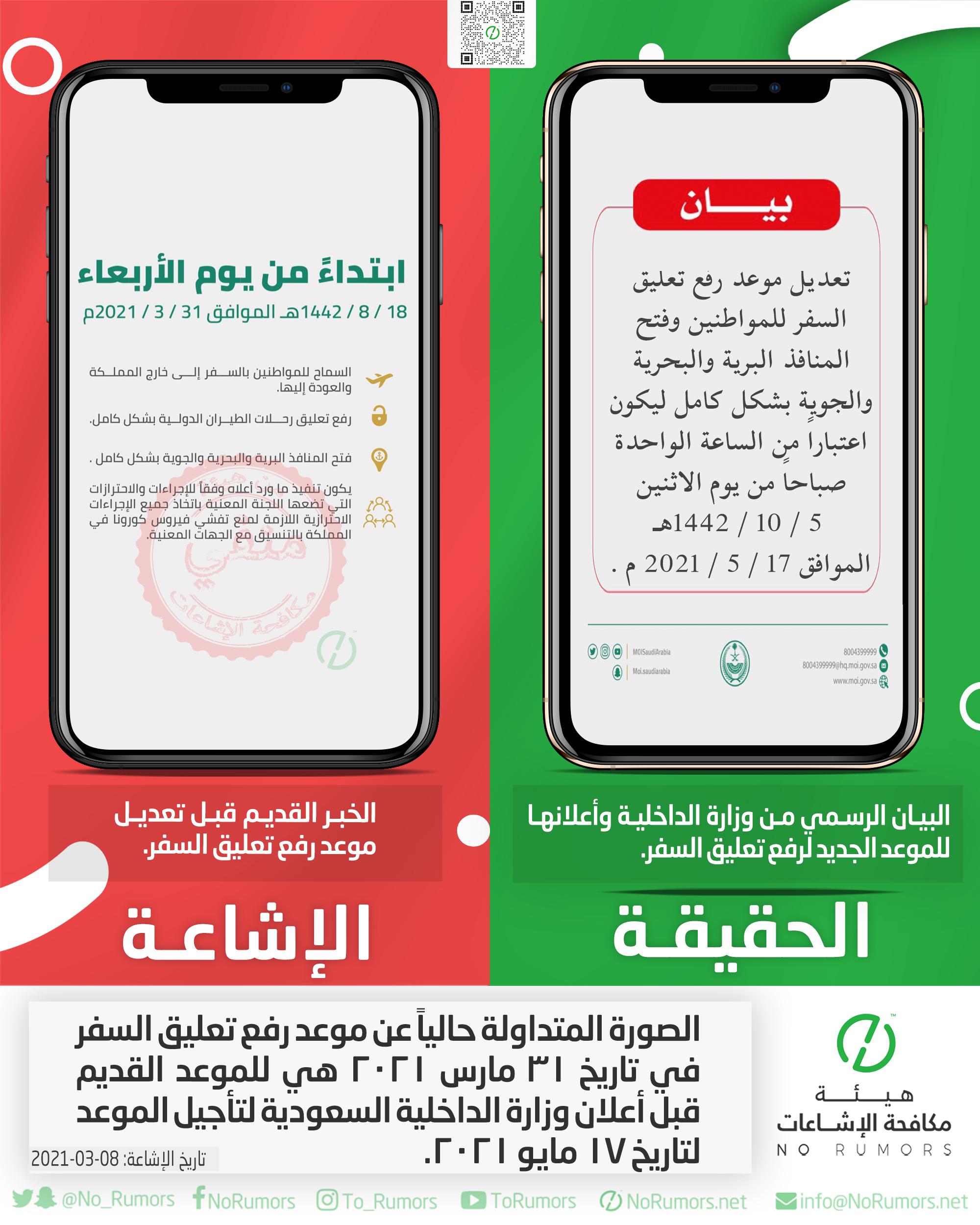 حقيقة الصورة المتداولة حالياً عن موعد رفع تعليق السفر في السعودية