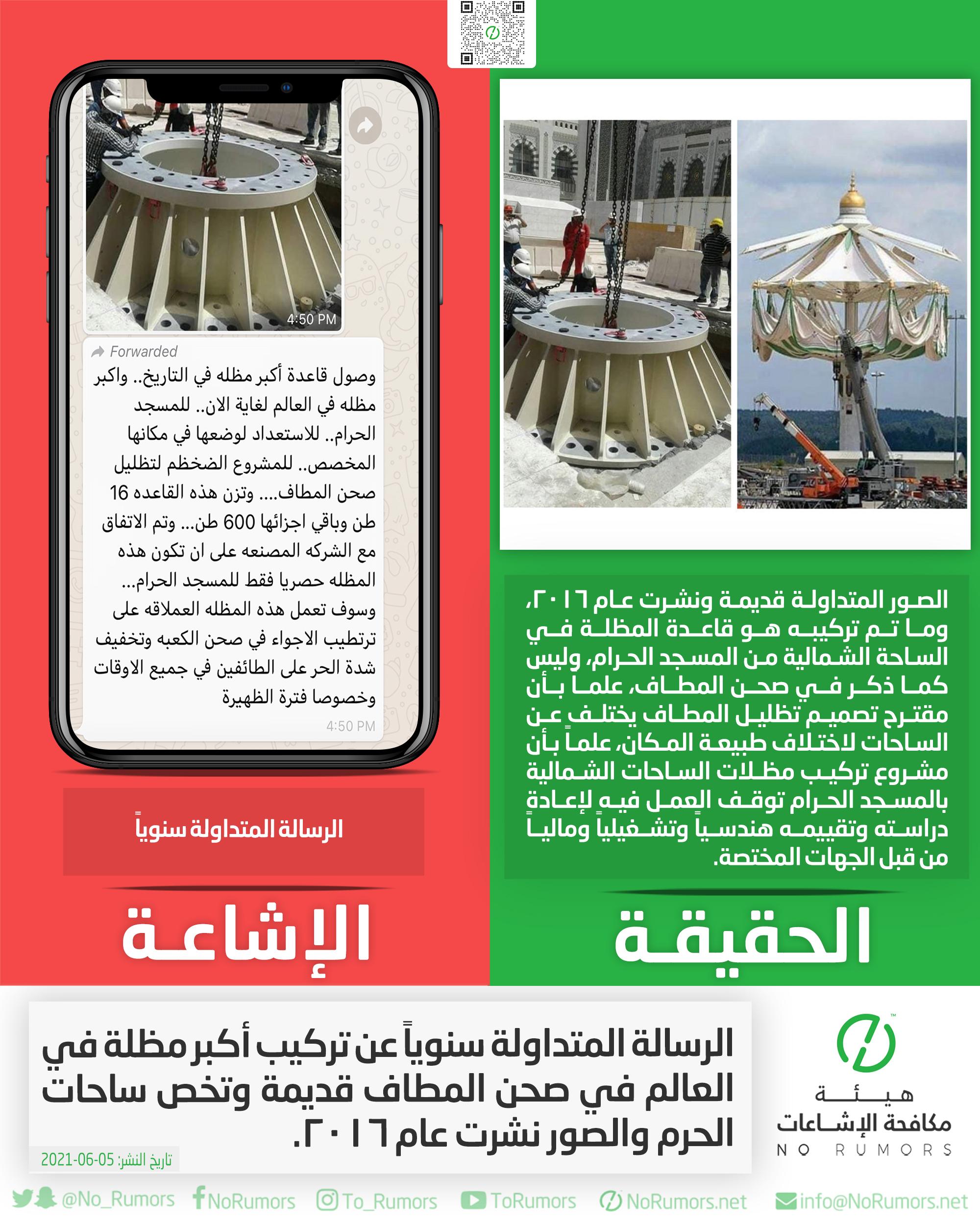 حقيقة الرسالة المتداولة سنوياً عن تركيب أكبر مظلة في العالم في صحن المطاف