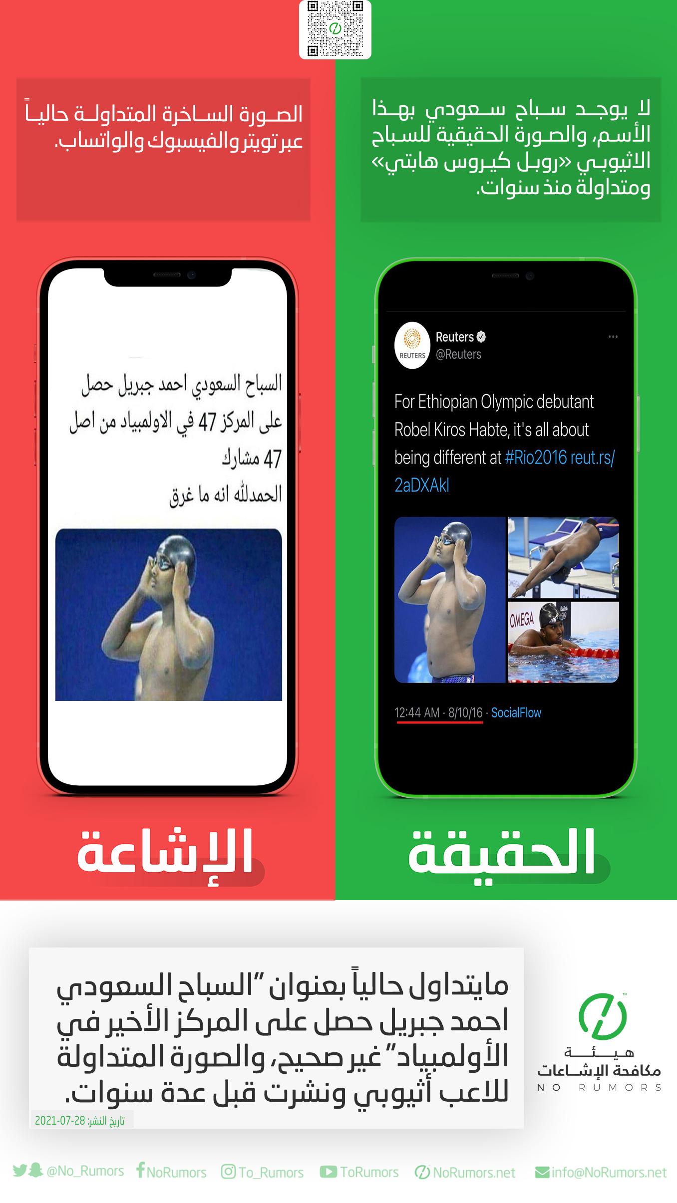 """حقيقة مايتداول حالياً بعنوان """"السباح السعودي احمد جبريل حصل على المركز الأخير في الأولمبياد"""""""