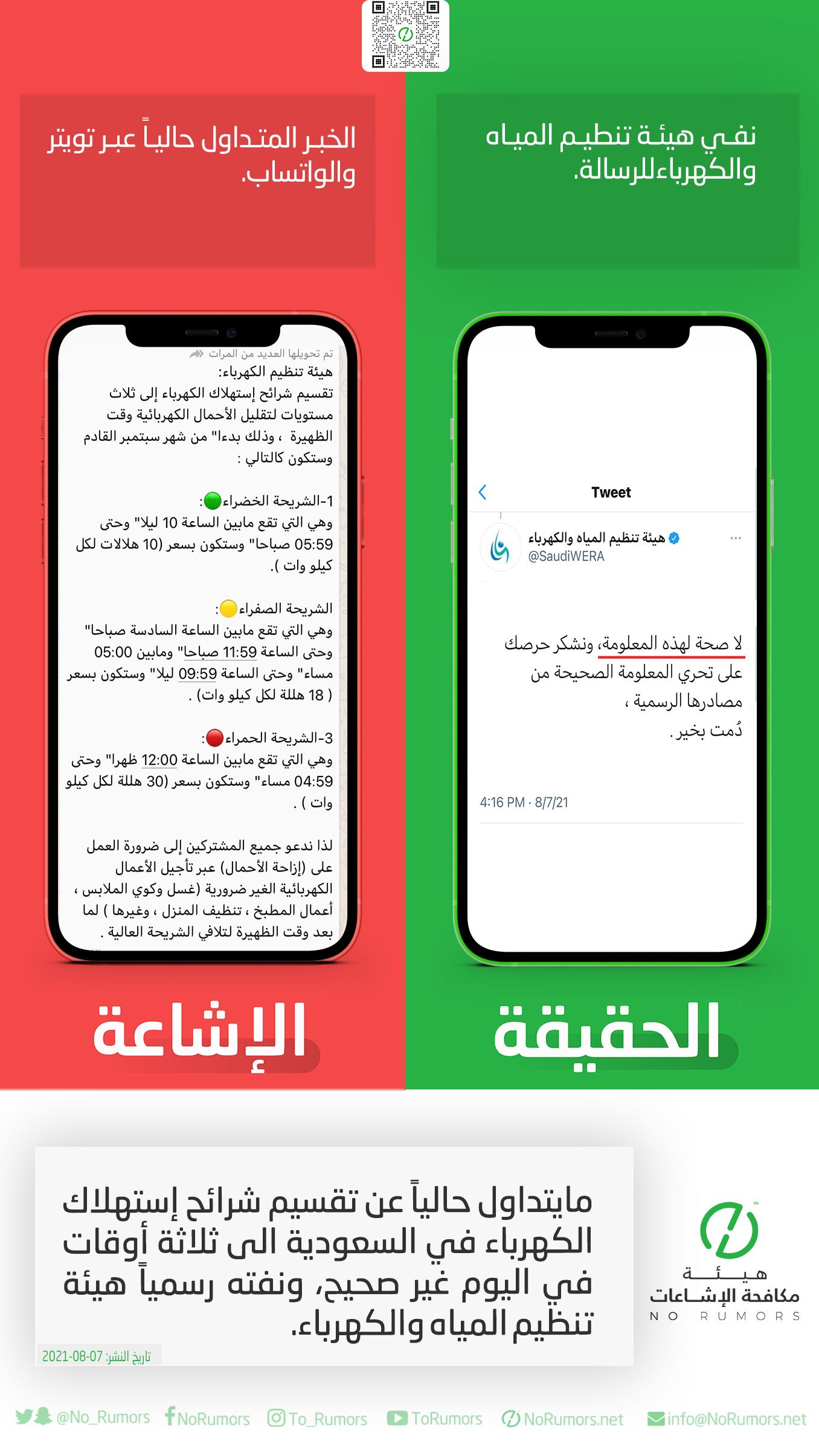 حقيقة مايتداول حالياً عن تقسيم شرائح إستهلاك الكهرباء في السعودية الى ثلاثة أوقات في اليوم