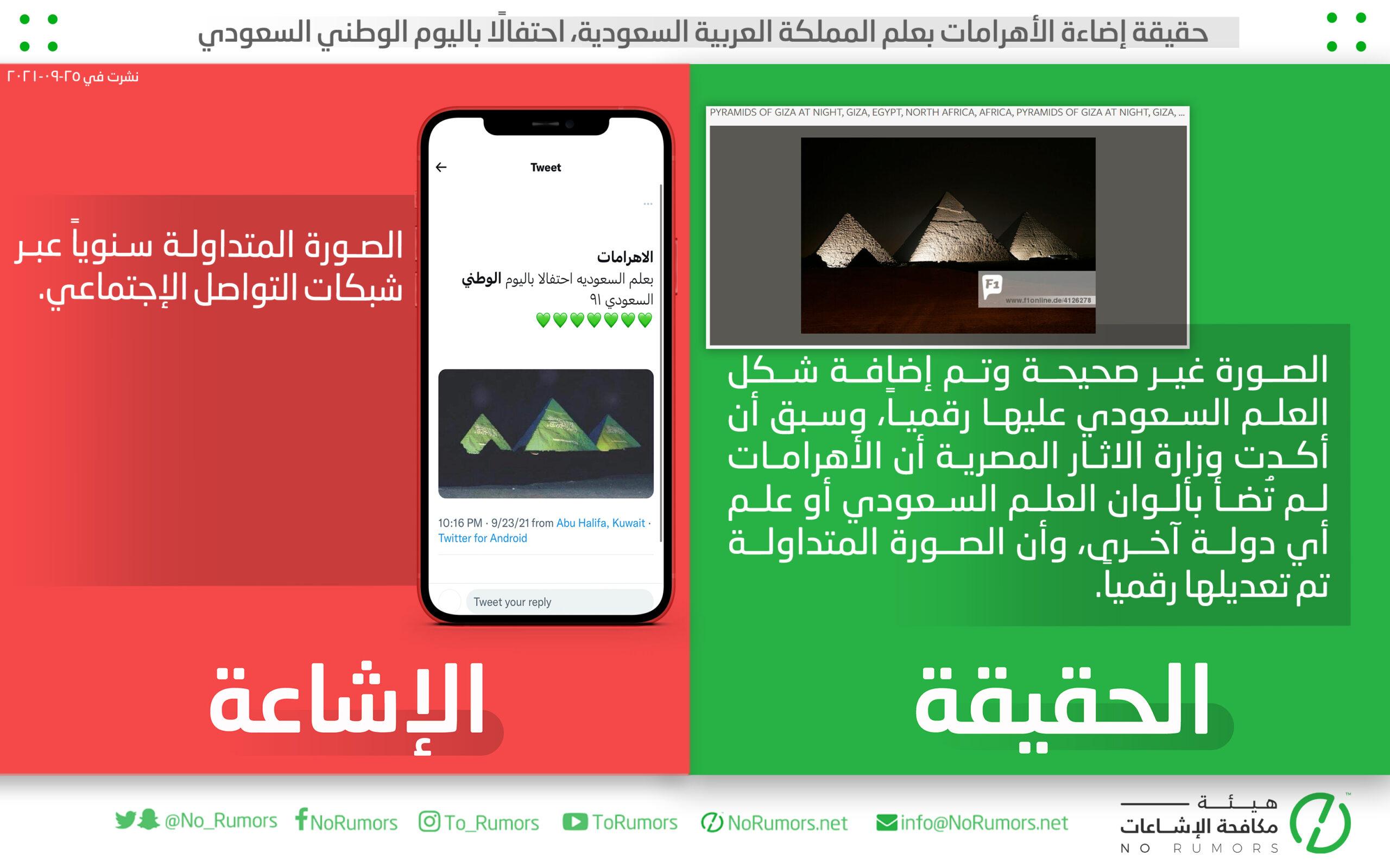 حقيقة إضاءة الأهرامات بعلم المملكة العربية السعودية، احتفالًا باليوم الوطني السعودي