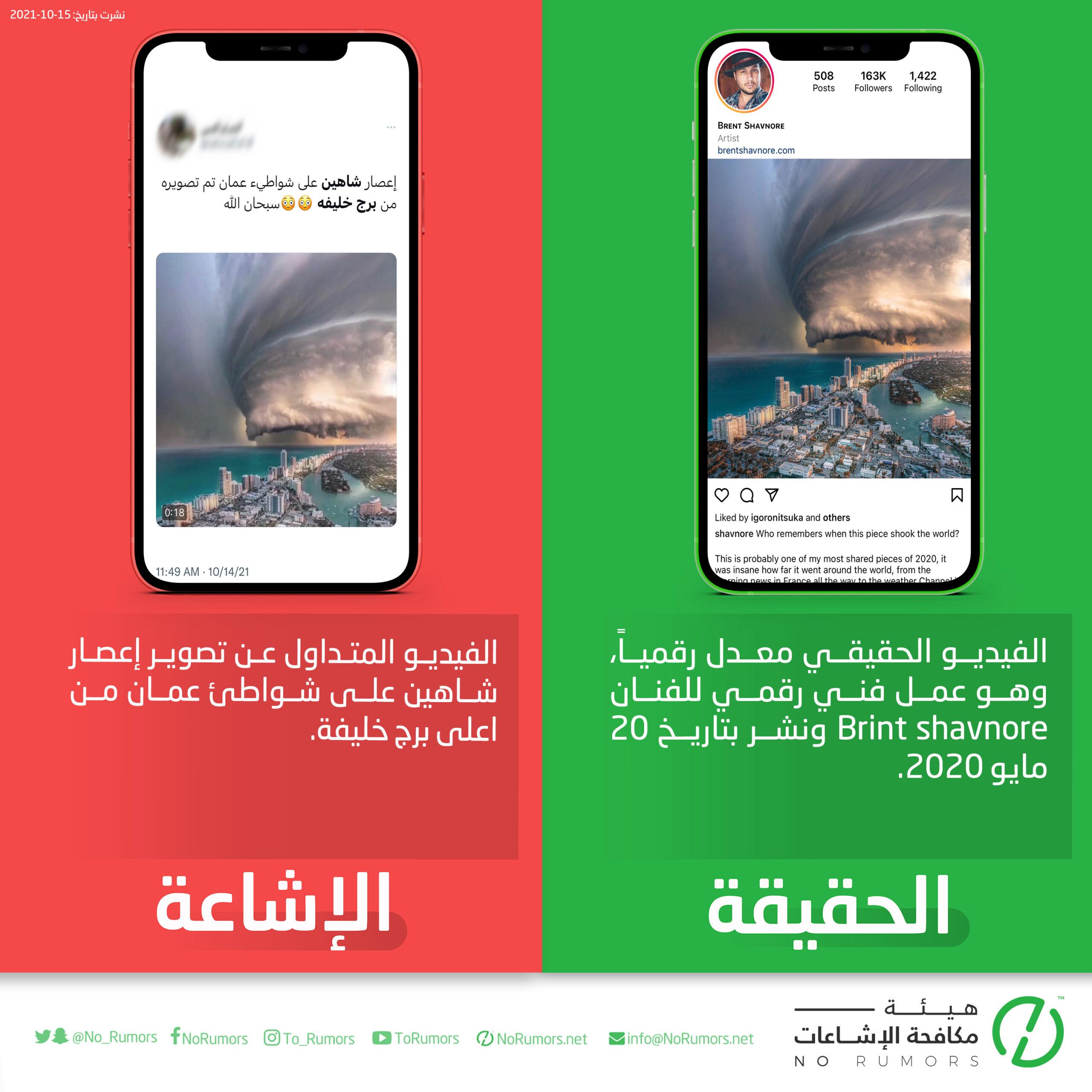 حقيقة الفيديو المتداول عن تصوير إعصار شاهين على شواطئ عمان من اعلى برج خليفة